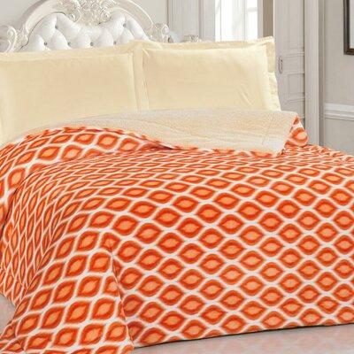 Borrego Soft Plush Faux Fur Blanket Color: Orange