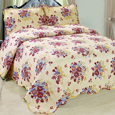 Emily 3 Piece Reversible Quilt Set Size: Queen