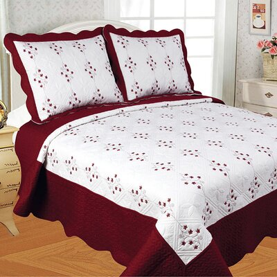 Diana 3 Piece Quilt Set Color: Burgundy, Size: King