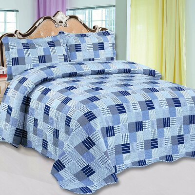Jasmine 3 Piece Reversible Quilt Set Color: Blue, Size: King