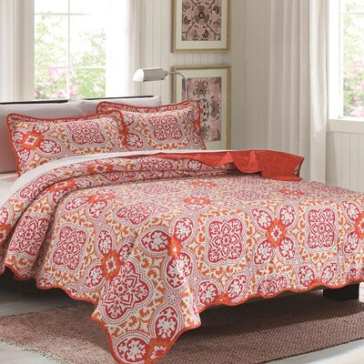 Lana 3 Piece Reversible Quilt Set Color: Orange, Size: Queen