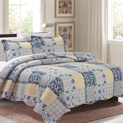 Maya 3 Piece Reversible Quilt Set Size: Queen