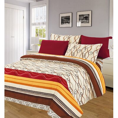 Beige and Red 6 Piece 1000 Thread Count Sheet Set