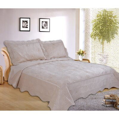 Paris 3 Piece Embroidered Velvet Quilt Set Size: Queen, Color: Beige
