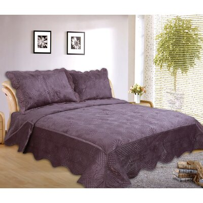 Paris 3 Piece Embroidered Velvet Quilt Set Size: Queen, Color: Purple