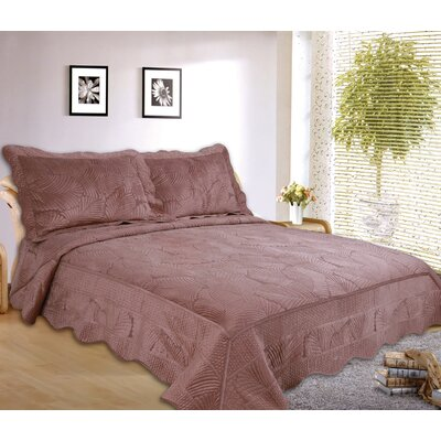 Paris 3 Piece Embroidered Velvet Quilt Set Size: King, Color: Brown