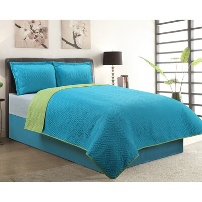 Sherry 3 Piece Reversible Quilt Set Color: Aqua, Size: Queen