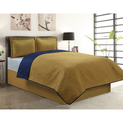 Sherry 3 Piece Reversible Quilt Set Color: Gold, Size: Queen