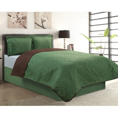Sherry 3 Piece Reversible Quilt Set Color: Green, Size: Queen