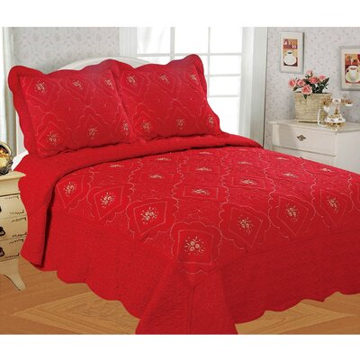 Diana Embroidered 3 Piece Quilt Set Size: King, Color: Red