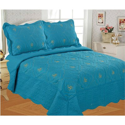 Diana Embroidered 3 Piece Quilt Set Size: King, Color: Blue
