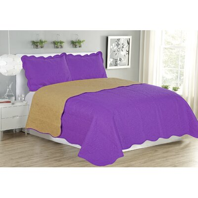 Sherry 3 Piece Reversible Quilt Set Size: Queen, Color: Purple
