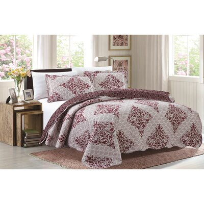 Emma 3 Piece Reversible Quilt Set Size: Queen