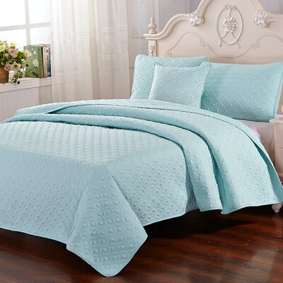 Stoehr 4 Piece Reversible Quilt Set Color: Aqua, Size: Queen