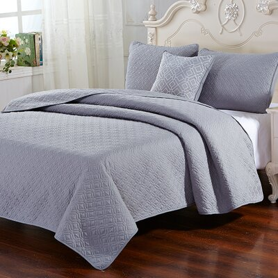 Stoehr 4 Piece Reversible Quilt Set Size: King, Color: Silver