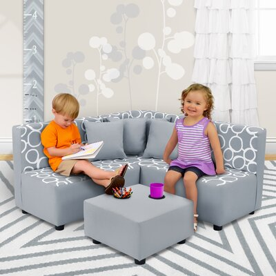 Kids Cotton Sectional and Ottoman with Cup Holder 1250FSTPEB