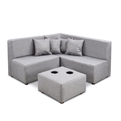 Duval Ash Kids Polyester Sectional and Ottoman with Cup Holder ZMIE5299 42395911