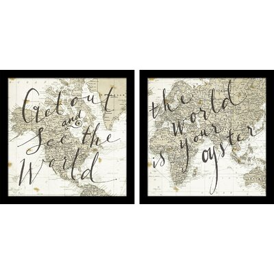 Get Out and See the World/The World is Your Oyster by Sara Zieve Miller 2 Piece Graphic Art on Wrapped Canvas Set