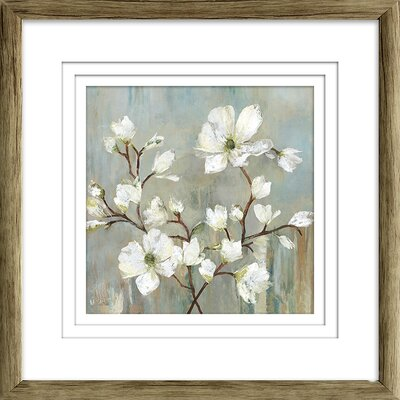 'Sweetbay Magnolia II' Painting Print Format: Brown Framed with Triple White Mat, Size: 19