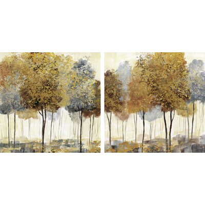 Metallic Forest I & II by Nan 2 Piece Painting Print on Canvas Set FC117604EA