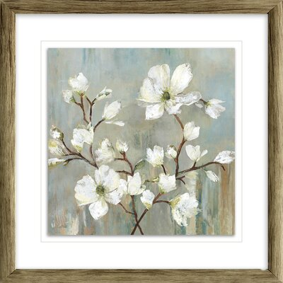 'Sweetbay Magnolia II' Painting Print Format: Distressed Brown Framed with Single White Mat, Size: 17