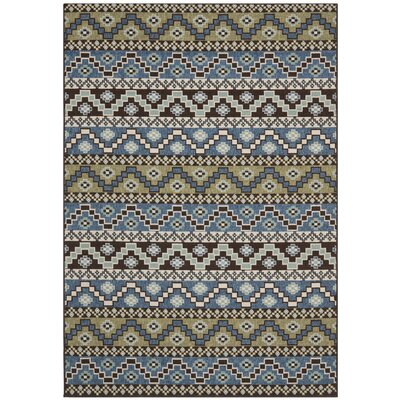 Rangely Blue / Creme Outdoor Southwestern Rug Rug Size: Rectangle 27 x 5