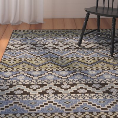 Zahr Blue/Creme Outdoor Area Rug Rug Size: 67 x 96