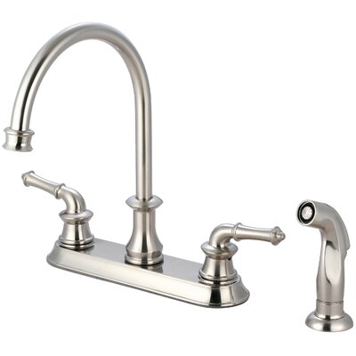Double Handle Kitchen Faucet with Side Spray Finish: Brushed Nickel