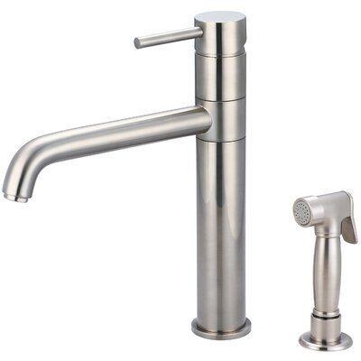 Motegi Single Handle Deck Mounted Kitchen Faucet with Side Spray Finish: Brushed Nickel