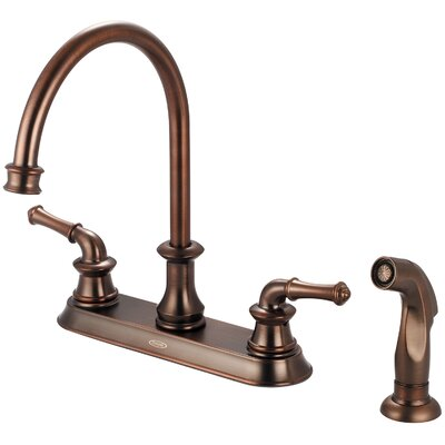 Del Mar Double Handle Centerset Kitchen Faucet with Side Spray Finish: Oil Rubbed Bronze