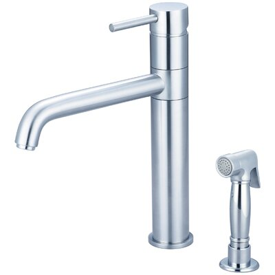 Motegi Single Handle Deck Mounted Kitchen Faucet with Side Spray Finish: Stainless Steel
