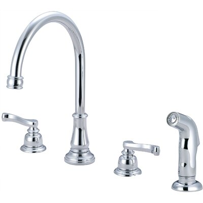 Brentwood Widespread Double Handle Kitchen Faucet with Side Spray Finish: Polished Chrome