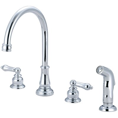 Brentwood Double Handle Widespread Kitchen Faucet with Side Spray Finish: Polished Chrome