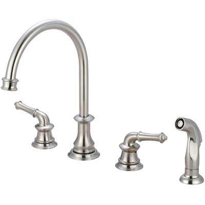 Del Mar Double Handle Widespread Standard Kitchen Faucet with Side Spray Finish: Brushed Nickel