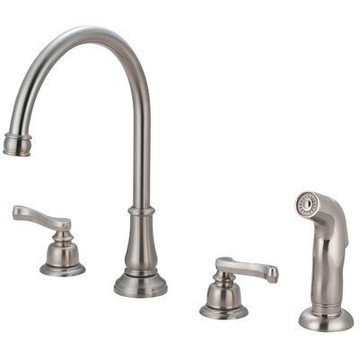Brentwood Widespread Double Handle Kitchen Faucet with Side Spray Finish: Oil Rubbed Bronze