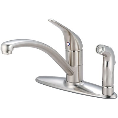 Legacy Single Handle Centerset Kitchen Faucet with Side Spray Finish: Brushed Nickel