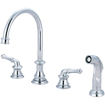 Del Mar Double Handle Kitchen Faucet with Side Spray Finish: Polished Chrome