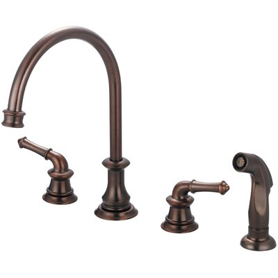 Del Mar Double Handle Widespread Standard Kitchen Faucet with Side Spray Finish: Oil Rubbed Bronze