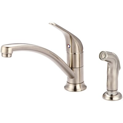 Legacy Single Handle Deck Mounted Kitchen Faucet with Side Spray Finish: Brushed Nickel
