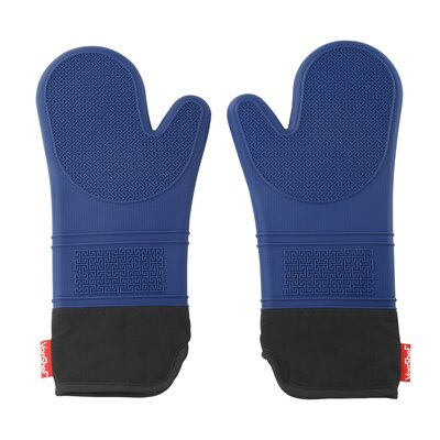 "Seamless Silicone Non-Slip Oven Gloves Size: 15.5"" H x 7.2"" W x 1.5"" D, Color: Blue 07/578"