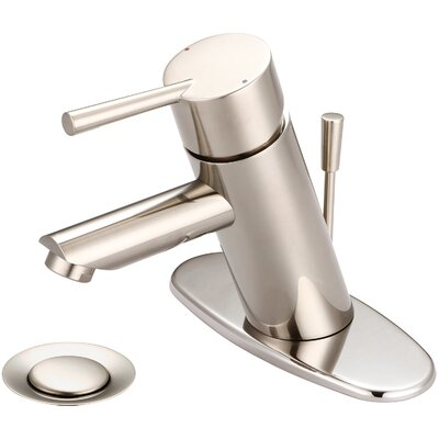 Standard Bathroom Faucet Single Handle with Drain Assembly Finish: PVD Brushed Nickel