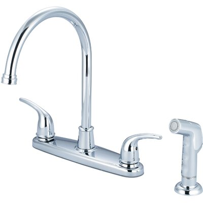 Double Handle Centerset Kitchen Faucet with Side Spray Finish: Chrome