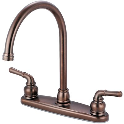 Double Handle Deck Mounted Centerset Standard Kitchen Faucet Finish: Oil Rubbed Bronze