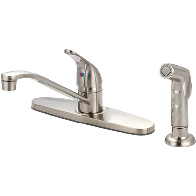Single Handle Centerset Standard Kitchen Faucet with Side Spray Finish: PVD Brushed Nickel