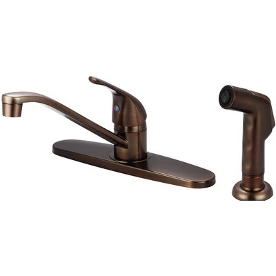 Single Handle Centerset Standard Kitchen Faucet with Side Spray Finish: Oil Rubbed Bronze
