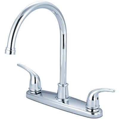Double Handle Deck Mounted Centerset Standard Kitchen Faucet Finish: Chrome