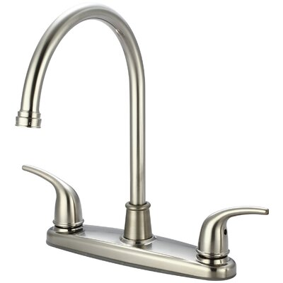 Double Handle Kitchen Faucet with Side Spray Finish: PVD Brushed Nickel