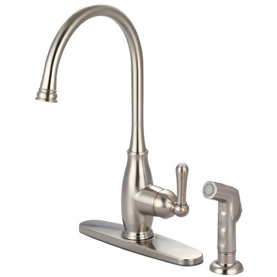 Single Handle Deck Mounted Standard Kitchen Faucet with Deck Cover Plate and Side Spray Finish: PVD Brushed Nickel