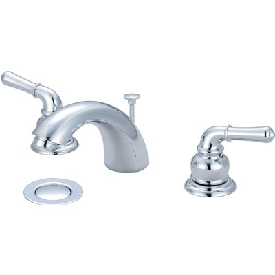 Double Handle Standard Bathroom Faucet with Drain Assembly Finish: Chrome