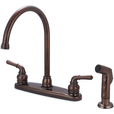 Double Handle Centerset Kitchen Faucet with Side Spray Finish: Oil Rubbed Bronze